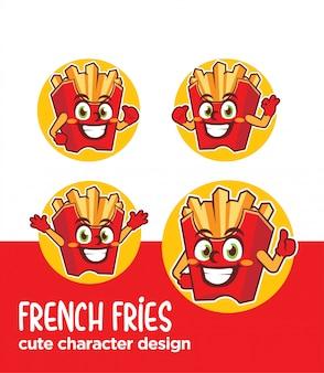 Caricature de personnage de frites