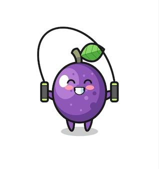 Caricature de personnage de fruit de la passion avec corde à sauter, design de style mignon pour t-shirt, autocollant, élément de logo