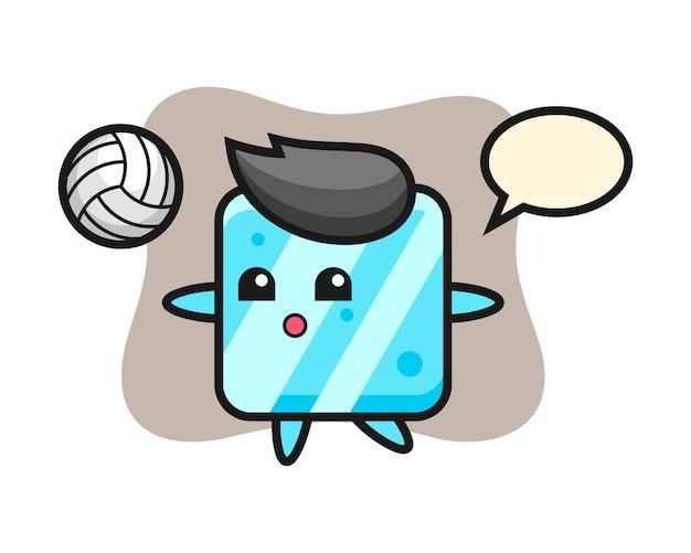 Caricature de personnage de glaçon joue au volleyball