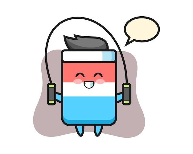 Caricature de personnage de gomme avec corde à sauter, style mignon, autocollant, élément de logo