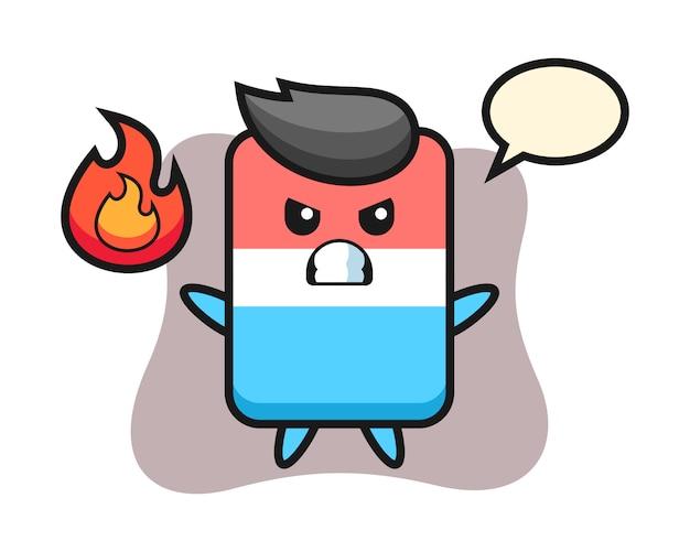 Caricature de personnage de gomme avec geste de colère, style mignon, autocollant, élément de logo