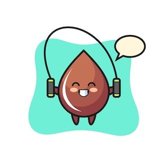 Caricature de personnage de goutte de chocolat avec corde à sauter, design de style mignon pour t-shirt, autocollant, élément de logo