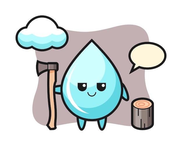 Caricature de personnage de goutte d'eau en tant que bûcheron, conception de style mignon pour t-shirt
