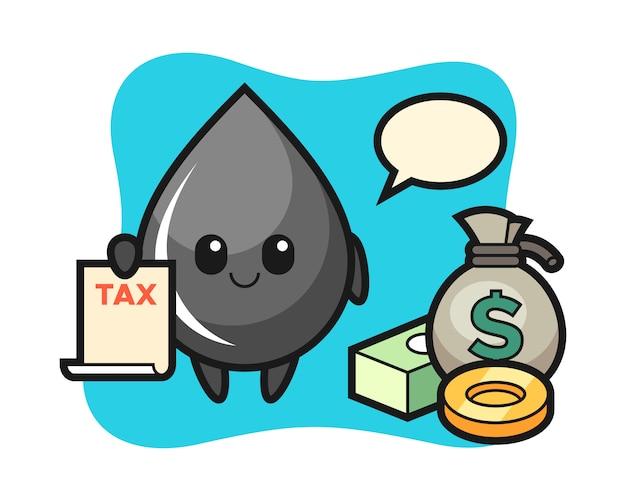 Caricature de personnage de goutte d'huile en tant que comptable