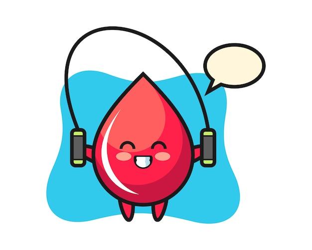Caricature de personnage de goutte de sang avec corde à sauter, style mignon, autocollant, élément de logo