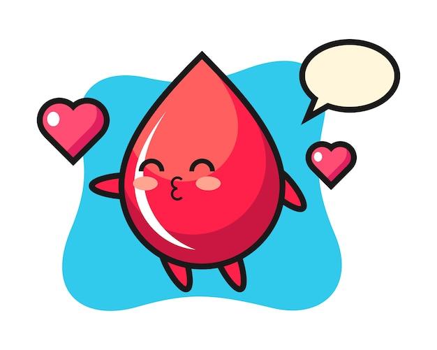 Caricature de personnage de goutte de sang avec geste de baiser, style mignon, autocollant, élément de logo
