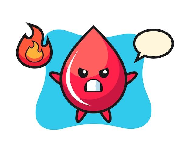 Caricature de personnage de goutte de sang avec geste de colère, style mignon, autocollant, élément de logo