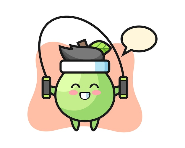 Caricature de personnage de goyave avec corde à sauter, style mignon pour t-shirt, autocollant, élément de logo