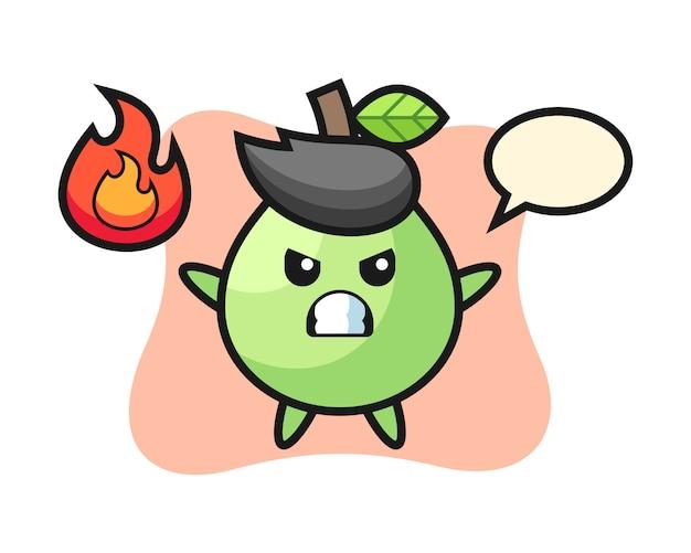 Caricature de personnage de goyave avec geste de colère, style mignon pour t-shirt, autocollant, élément de logo