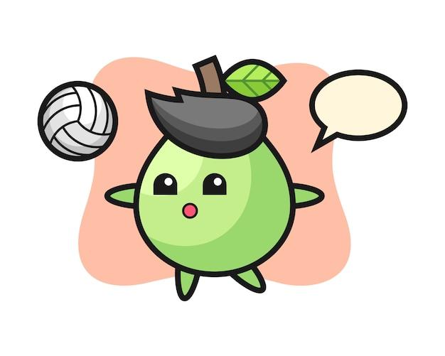 Caricature de personnage de goyave joue au volleyball, conception de style mignon pour t-shirt, autocollant, élément de logo