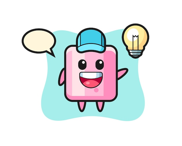 Caricature de personnage de guimauve obtenant l'idée, conception de style mignon pour t-shirt, autocollant, élément de logo
