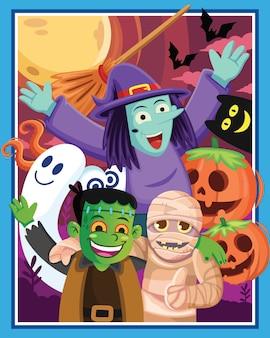Caricature de personnage d'halloween avec une lune, illustration de dessin animé.
