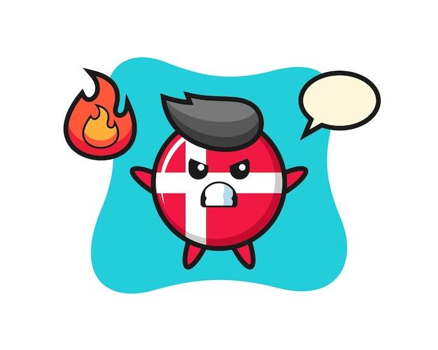 Caricature de personnage d'insigne de drapeau du danemark avec un geste en colère, design de style mignon pour t-shirt, autocollant, élément de logo