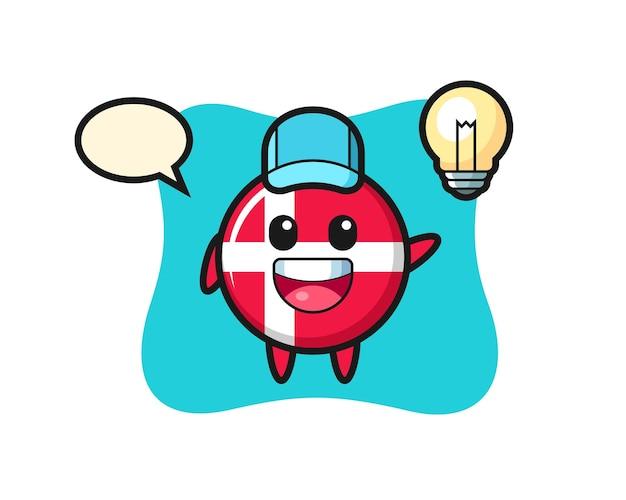 Caricature de personnage d'insigne de drapeau du danemark obtenant l'idée, conception de style mignon pour t-shirt, autocollant, élément de logo