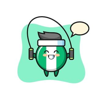 Caricature de personnage d'insigne de drapeau du nigeria avec corde à sauter, design de style mignon pour t-shirt, autocollant, élément de logo