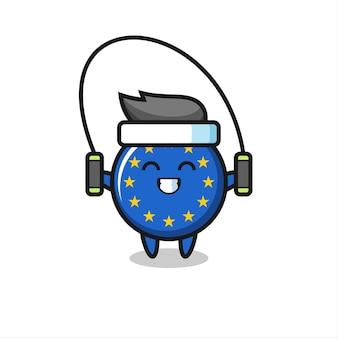 Caricature de personnage d'insigne de drapeau de l'europe avec corde à sauter, design de style mignon pour t-shirt, autocollant, élément de logo