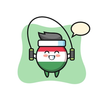 Caricature de personnage d'insigne de drapeau de la hongrie avec corde à sauter, design de style mignon pour t-shirt, autocollant, élément de logo