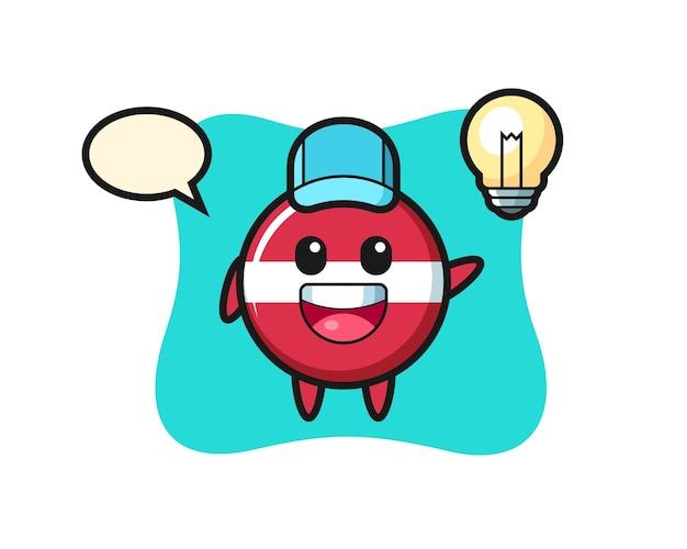 Caricature de personnage d'insigne de drapeau de la lettonie obtenant l'idée, conception de style mignon pour t-shirt, autocollant, élément de logo