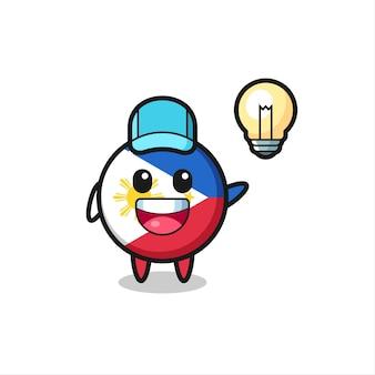 Caricature de personnage d'insigne de drapeau des philippines obtenant l'idée, conception de style mignon pour t-shirt, autocollant, élément de logo