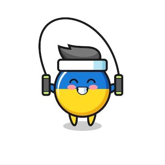 Caricature de personnage d'insigne de drapeau de l'ukraine avec corde à sauter, design de style mignon pour t-shirt, autocollant, élément de logo