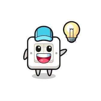 Caricature de personnage d'interrupteur d'éclairage obtenant l'idée, conception de style mignon pour t-shirt, autocollant, élément de logo
