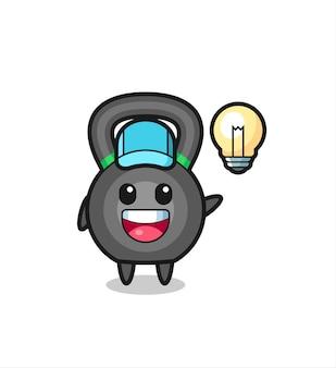 Caricature de personnage kettlebell obtenant l'idée, conception de style mignon pour t-shirt, autocollant, élément de logo