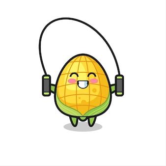 Caricature de personnage de maïs avec corde à sauter, design de style mignon pour t-shirt, autocollant, élément de logo
