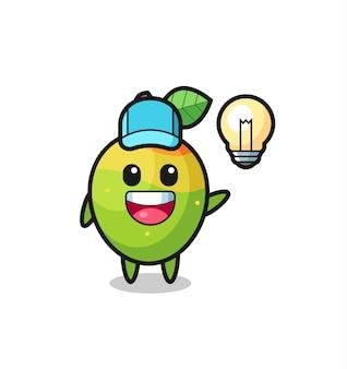 Caricature de personnage de mangue obtenant l'idée, conception de style mignon pour t-shirt, autocollant, élément de logo
