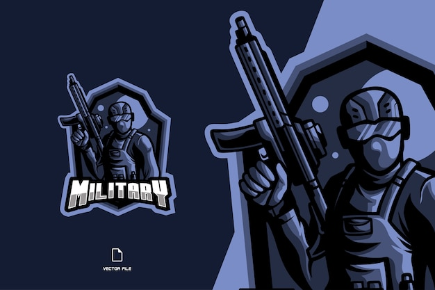 Caricature de personnage de mascotte soldat pour illustration de logo de jeu esport