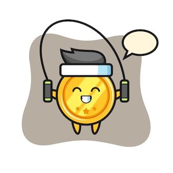 Caricature de personnage de médaille avec corde à sauter