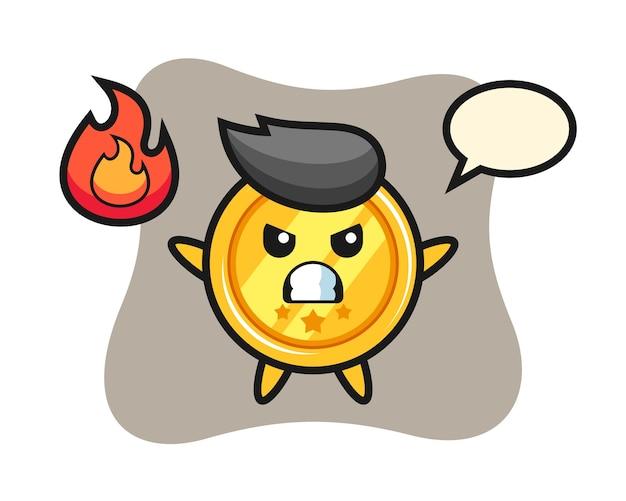 Caricature de personnage de médaille avec geste de colère
