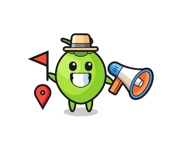 Caricature de personnage de noix de coco comme guide touristique, design de style mignon pour t-shirt, autocollant, élément de logo
