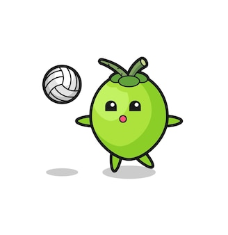 Caricature de personnage de noix de coco joue au volley-ball, design de style mignon pour t-shirt, autocollant, élément de logo
