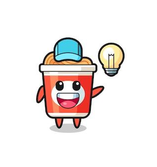 Caricature de personnage de nouilles instantanées ayant l'idée, design de style mignon pour t-shirt, autocollant, élément de logo