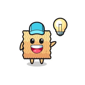Caricature de personnage de nouilles instantanées brutes obtenant l'idée, design de style mignon pour t-shirt, autocollant, élément de logo