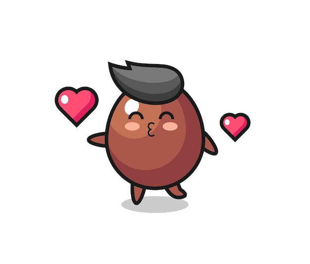 Caricature de personnage d'oeuf au chocolat avec geste de baiser, design mignon