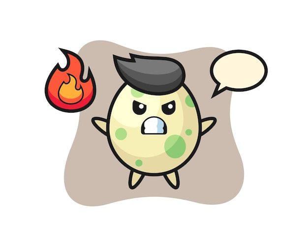 Caricature de personnage d'oeuf tacheté avec un geste en colère, design de style mignon pour t-shirt, autocollant, élément de logo