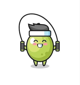 Caricature de personnage olive avec corde à sauter, design de style mignon pour t-shirt, autocollant, élément de logo