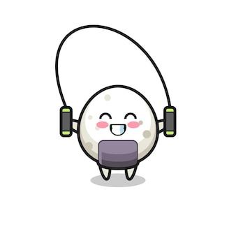 Caricature de personnage onigiri avec corde à sauter, design de style mignon pour t-shirt, autocollant, élément de logo