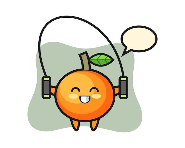 Caricature de personnage orange mandarine avec corde à sauter, style mignon, autocollant, élément de logo