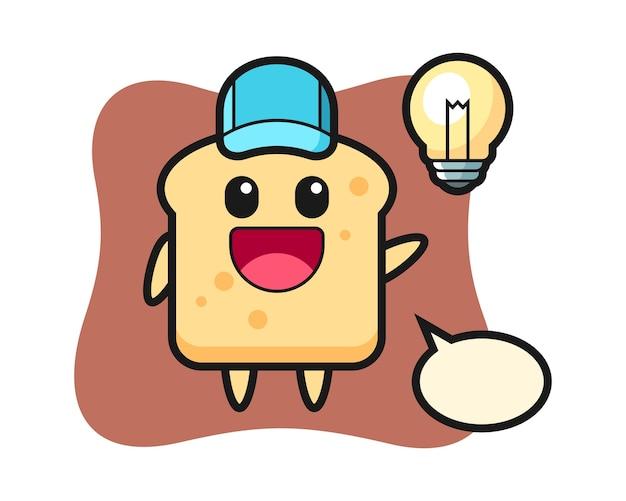 Caricature de personnage de pain avoir l'idée