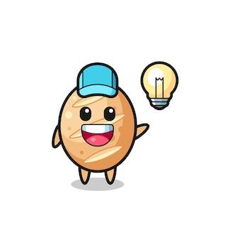 Caricature de personnage de pain français obtenant l'idée, design mignon