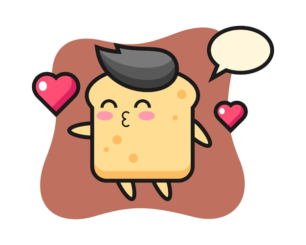 Caricature de personnage de pain avec geste de baiser
