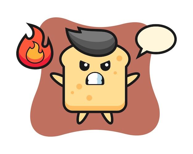 Caricature de personnage de pain avec un geste de colère