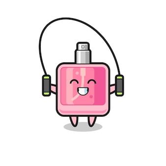 Caricature de personnage de parfum avec corde à sauter, design de style mignon pour t-shirt, autocollant, élément de logo