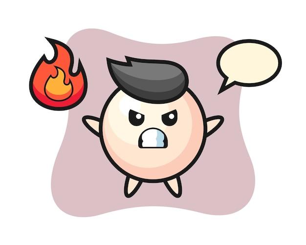 Caricature de personnage de perle avec un geste de colère