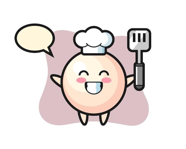 Caricature de personnage de perle en tant que chef cuisine