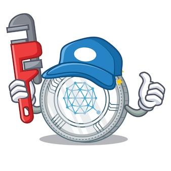 Caricature de personnage de pièce de monnaie de plombier qtum