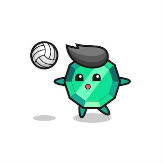 Caricature de personnage de pierre précieuse émeraude joue au volley-ball, design de style mignon pour t-shirt, autocollant, élément de logo