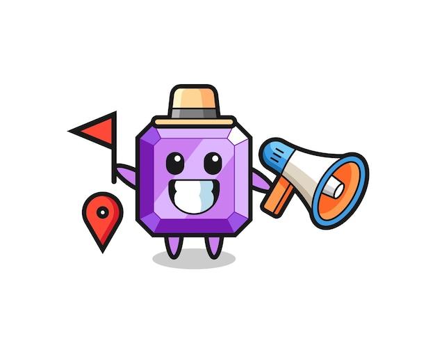 Caricature de personnage de pierre précieuse violette en tant que guide touristique, design de style mignon pour t-shirt, autocollant, élément de logo